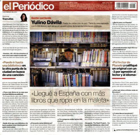 Entrevista a Yulino Dávila en El Periódico de Catalunya
